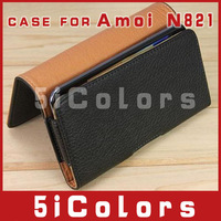Free shipping Leather case BELT for 4.5inch Amoi n821  case (5icolors-L)