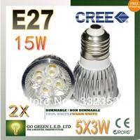 FREE SHIPPING 2pcs/lot Dimmable  E27 5X3W 15W High power LED Bulb Spotlight Downlight Lamp LED Lighting