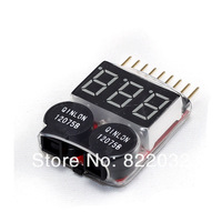 Free shipping!1-8s New Digital Lipo battery Voltage Indicator volt meter monitor buzzer Alarm