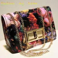 women's spring handbag vintage oil painting flower chain bag mini one shoulder cross-body small bags female