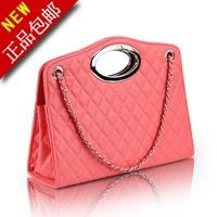 LZ women's handbag fashion shoulder bag nsutite plaid chain bag japanned pu leather candy color women's bags 33*14*10cm