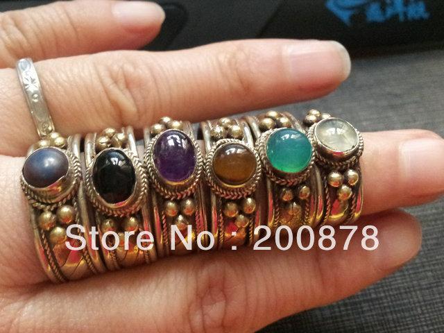 R131 Tibetan Rose Metal Copper Inlaid Natural Stone Rings,Tibet Antiqued Vintage open rings Wholesale girls Ring Supplier(China (Mainland))