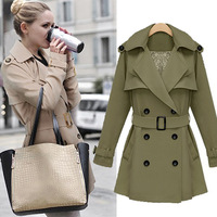 Free Shipping 2013 Women's High Quality Fashion Turn-down Collar Double Breasted Button with Belt Back Lace Long Jacket DY121026