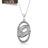 New arrival austria crystal chain female short brief design two circle necklace diamond accessories