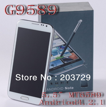 "G9589 5.5"" Note2 MT6589 1.2GHZ Quad-core 1G  8MP+2MP camera Android 4.2.1 GSM WCDMA Smart  Phone"