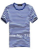 Free Shipping 2013 Summer 100% Cotton Casual Fashion Printing Stripes Men's T-shirt  071224