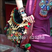 New Arrival, Designer Handbags, India Style Embroidered Tassel Bag, Thai Embroidery Shoulder Bag, Vintage Hiltribe Bag