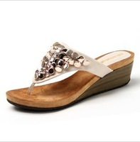 2013 Fashion sandals Bohemia the wedges the flat Herringbone Slippers Women's shoes