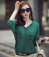 2013 spring solid color shirt female loose o-neck all-match women's shirt chiffon shirt wt084
