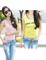 Wt075 summer new arrival sexy loose short-sleeve T-shirt female vest top