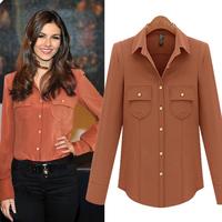 Fashion Women's Turn-down Collar Long sleeve basic chiffon shirt Free Shipping New Arrival SY121395