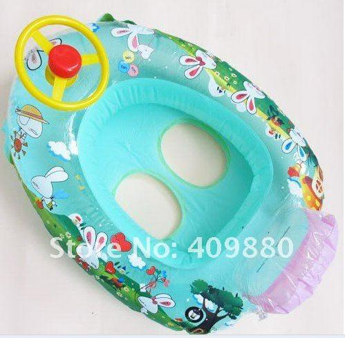 """$15 off per $150 order Baby Kids Water Pool Swim Ring Seat Float Boat Swimming Aid Tube With Wheel Toy color random(China (Mainland))"