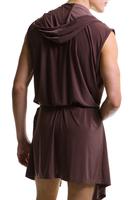 Male bathrobe robe Men bathrobes fashion satin sleeveless with a hood n601