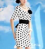 2013 summer new temperament Slim white black Polka Dot Dress With Belt sleeved package hip send corsage career Skirt S-XL