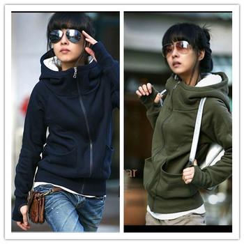 2013 Free Shipping Korea Women Hoodies Coat Warm Zip Up Outerwear Sweatshirts Women Coat E4
