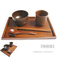 Wood pallet wool dinnerware set cup pallet cup holder wood tableware vintage japanese dinnerware