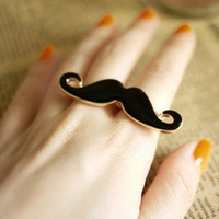 Min.order $5 (can mix) the cheapest price Alloy Double Beard Open Black Enamel Mustache Finger Ring Party Gift Free Shipping