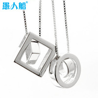 925 pure silver platinum lovers necklace simple elegant lovers pendant jewelry