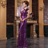 2014 bridal evening dress long design formal dress elegant one shoulder purple evening dress banquet evening dress gold