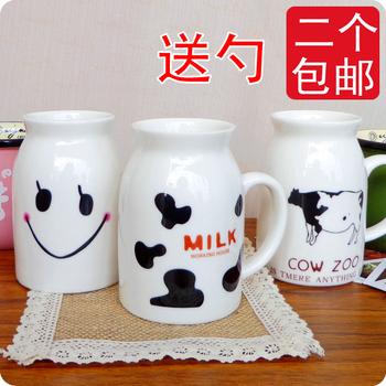 Spoon ceramic milk cup/ cute lovers cup coffee cup