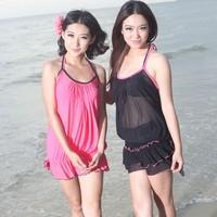 2013 hot springs bikini swimwear female small push up swimwear steel tube top dress split swimsuit