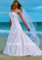 Custom Made 2013 fashion trend model for the Taffeta Sweetheart Spaghetti A- Line Beads Style BE032 Beach Wedding Dresses