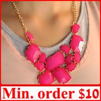 [ MIN.MIX ORDER $10 ] Geometry Neon Gem Bib Beads Choker Necklace