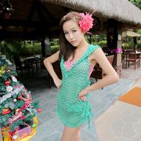 Hot spring swimwear bribed 2013 fashion net shirt bikini four piece set bikini swimwear