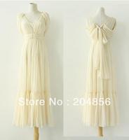 free shipping ladie's dress deep V-neck high waist bandeaus elegant chiffon full dress formal dress one-piece dress