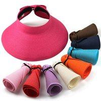 Beach cap sunbonnet visor strawhat female summer sunscreen sun hat  SC0277