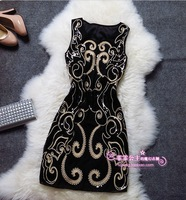 2013 royal embroidery quality elegant paillette slim tank novelty dress formal novelty dress
