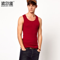 2013 summer solid color tight elastic fashion undershirt HOT men's clothing basic  Free Shipping