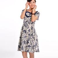[LYNETTE'S CHINOISERIE - BE.DIFF] National trend ruffle short-sleeve print linen Women Plus Size Dress Sz XS S M L XL XXL XXXL