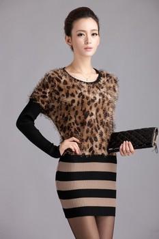 Street fashion women's 2012 slim leopard print basic sweater one-piece dress sweater dress