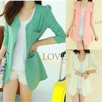 2013 Spring slim suit jacket cardigan women's candy color medium style suit  BLAZERS 3Colors Free shipping.