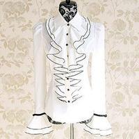 Elegant Princess White ruffles black bow puff long-sleeved shirt European ladies' Palace retro solid chiffon blouse