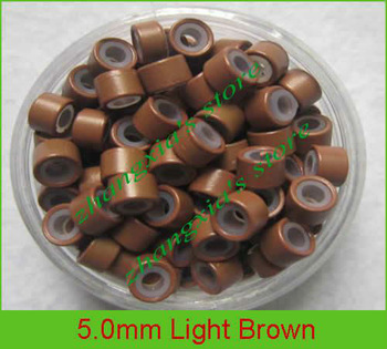 Free Shipping 1000pcs 9 Colors 5mm Silicone Micro Rings/Links/Beads/Tube For Pre-bonde and Feather Hair Extensions Light Brown