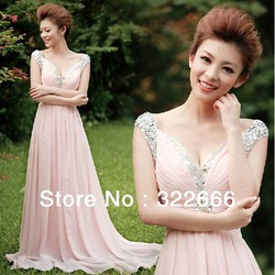 2013 Hot Sale Sweetheart Beading Pink Chiffon Floor Length Prom Dresses Formal Gowns Store Online(China (Mainland))