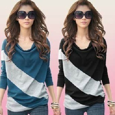 2013 Hot sell Korean Style Ladies tshirt Women&#39;s Casual Round Neck Batwing Long Sleeve T-Shirt 5 color(China (Mainland))