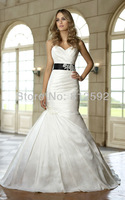 Free Shipping Elegant White/Ivory Sweetheart Taffeta Mermaid With Sash Wedding Dress/Bridal Gown Custom Size Wholesale/Retail