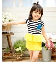 free shipping  2013 new best quality fashion summer girl's Stripe dress Children's Flounced dress Brand children's clothing