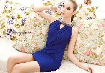 Fashion Style Summer 2014 handmade luxury Cross Package-hip Blue Slim Milk Silk Elastic Women sexy dress WM012