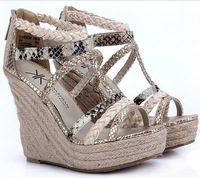12cm ultra high heels tiangao knitted wedges platform gold plus size female sandals 37 - 43