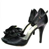 Diba black open toe big bow decoration lacing ultra high heels formal dress shoes 10