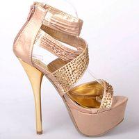 14cm ultra high heels platform rhinestone formal dress shoes plus size wedding shoes party shoes 36 - 42