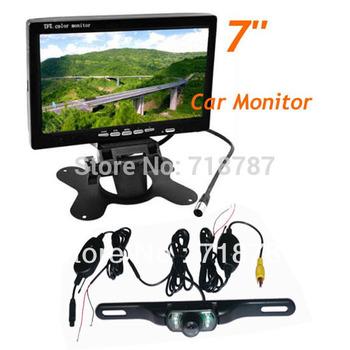 "Waterproof License plate Wireless IR Reverse Camera + 7"" LCD Monitor Car Rear View Kit 20pcs/lot"