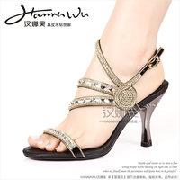 Hannawu hannah lock bead curtain diamond rhinestone genuine leather high-heeled sandals plus size