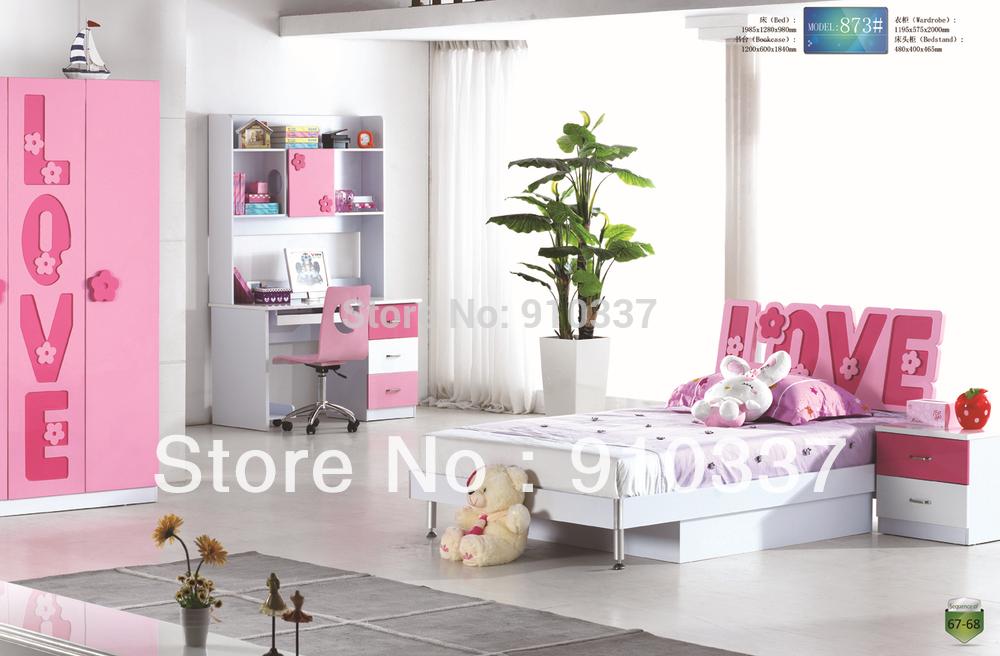 Pink Children Girl Youth Bedroom Furniture Set Type Bedroom Furniture