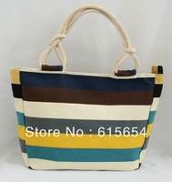 2014 New Arrival Fashion Striped Women Shoulder Bag,Canvas Handbags for Womens Girls,Beach Makeup Lunch Tote bags(43*30*16cm)