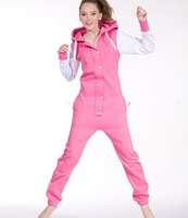 2013 NEW!  women  pink +white patchwork cotton one piece Jumpsuit /adult Rompers/  Unisex Oversized clothing  Free Shipping